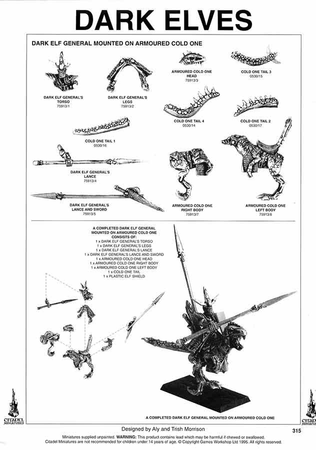 Hoja de catálogo del General de los Elfos Oscuros